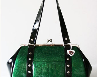 Emerald Green Sparkle Vinyl Purse with Black Gloss Trim, Rockabilly Handbag, Pin Up - MADE TO ORDER