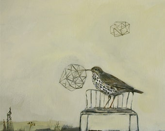 "Song thrush 'Different Verses' print 9""x 7"""