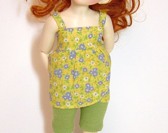 LTF/LittleFee/YOSD Ball Jointed Doll Yellow with Periwinkle Blue Flower Petal Top, Knit Capri & Headband Set