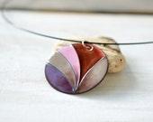 Big enamel necklace - handmade OOAK necklace - cloisonne enamel - purple pink necklace - artisan jewelry by Alery