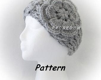 Instant Download to PDF Crochet PATTERN: NEW Lattice Headband  w Puff Center Flower