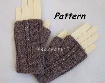 Instant Download to PDF CROCHET Pattern: Palm Fingerless Mitts with Optional Beading
