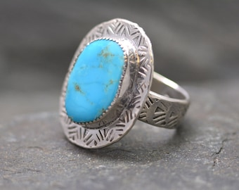 Royston Turquoise Ring, Size 9, Handmade Sterling Silver, Nevada Turquoise, Turquoise Jewelry, Large Ring, Handcrafted, Totally Handmade