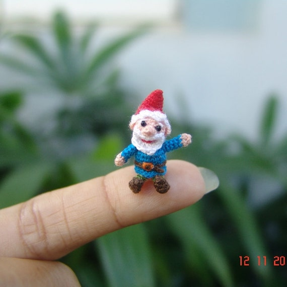 dollhouse crochet miniature - 1 inch tiny amigurumi gnome  - miniature crochet doll