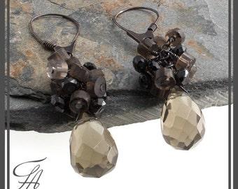 Cascade Earrings Brown Quartz Earrings, Sterling Silver Handmade Earrings Long Earrings Stone Earrings Drop Earrings Quartz Earrings