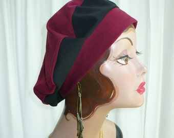 Maroon and Black Cotton Jersey Beret, Chemo Hat