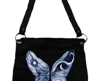 Alice in Wonderland Messenger Bag- Butterfly Angel Wings, Tim Burton Inspired, proceeds to Alzheimer's Association