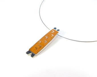 Sterling Silver Pendant -  Orange and Blue - Contemporary Modern Design