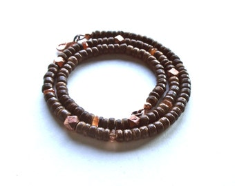 Cool Mens Necklace, Surfer Style, Gemstone Beaded Jewelry, Brown Coconut Shell Necklace, Orange Sunstone Necklace, Simple Necklace, Copper