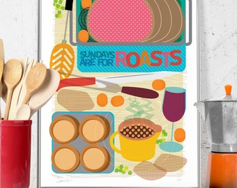 Sunday Roast Print Limited Edition Signed Numbered Kitchen Illustration