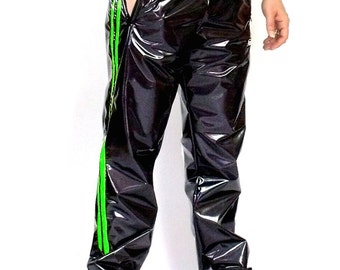 Sporty 4-way stretch vinyl track pants