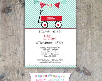 RED WAGON 5x7 Birthday Invitation Boy Printable