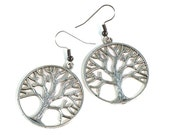 Circle Tree of Life Earrings in Silver Metal on Hooks or Clip Ons