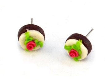 Cute Cake Miniature Food Post Earrings - Tiny Food Jewelry - Clearance Sale