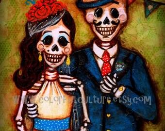 """Por Siempre y Para Siempre"""" Forever and Ever -Art Print by Laura Gomez on Fade Free Paper-Boda- Dia de los Muertos -Day of the Dead Wedding"""