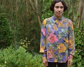 80s Bright Floral Print Collared Blouse