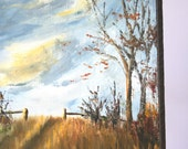 Vintage Landscape Painting: Windswept Autumn Field