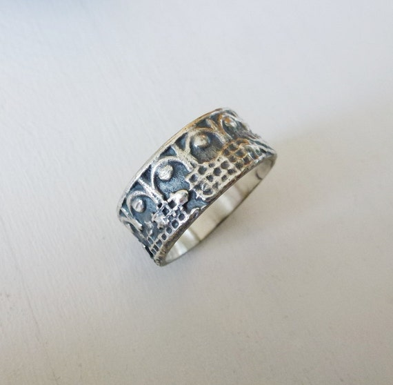 Medieval Silver Ring Wedding Band Silver Wedding Ring for