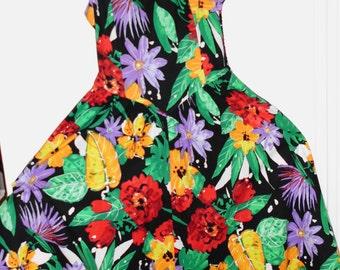 Vintage 1980s Sleeveless Dress Neon Colors    Sz 8   Drop Waist  Elastic Back   Cotton