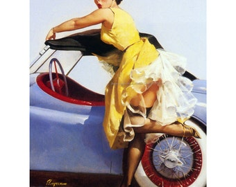 Pinup Girl Card - Sports Car Cover Up - Repro Elvgren