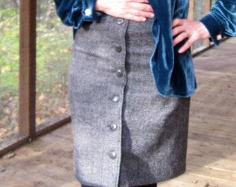 CUSTOM Skirt, Wool Skirt, pencil skirt, straight skirt, button front skirt