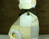 Vintage Primitive Cat Named Belle Handcrafted from Old Quilt Wears Antique Button Bell Pillow Stuffed Animal