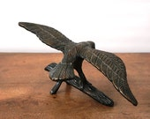 Vintage Brass Eagle Statue / Americana / Paperweight / Bird On Branch Figurine / Military / Patriotic / Home Decor