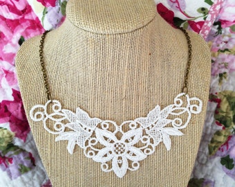 White As Angels Lace Necklace