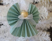 Mint Green Angel Christmas Ornament U-Pick Trim Color Mint Green Paper Ribbon Angel Christmas Ornament SnowNoseCrafts