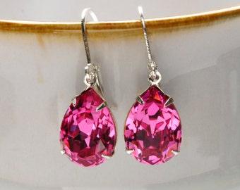 PINK Earrings Dangle Earrings ROSE Swarovski Earrings Rhinestone Earrings Bridesmaid Earrings Vintage Style Jewelry By Victorian Curiosities