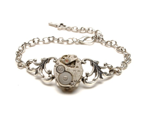 Steampunk Bracelet Steam Punk Bracelet Vintage Watch Bracelet Silver Bracelet Steam Punk Wedding Steam Punk Jewelry By Victorian Curiosities