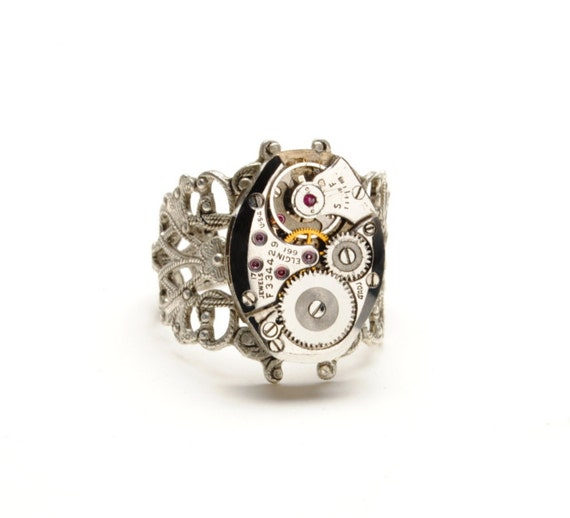 ELGIN Steampunk Ring Art Deco Steam Punk Ring Steampunk Watch Ring Ornate Silver Ring Victorian Steampunk Jewelry By Victorian Curiosities