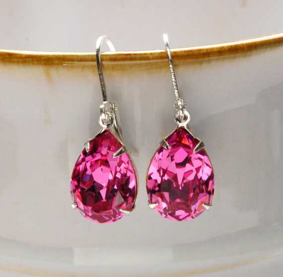 PINK Earrings Dangle Earrings ROSE Swarovski Earrings Rhinestone Earrings Bridesmaid Earrings Vintage Style Jewelry By Victorian Curiosities