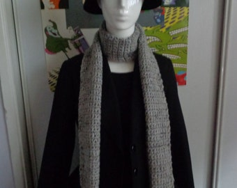 Grey Marble Handmade Crochet Scarf by Pepperland