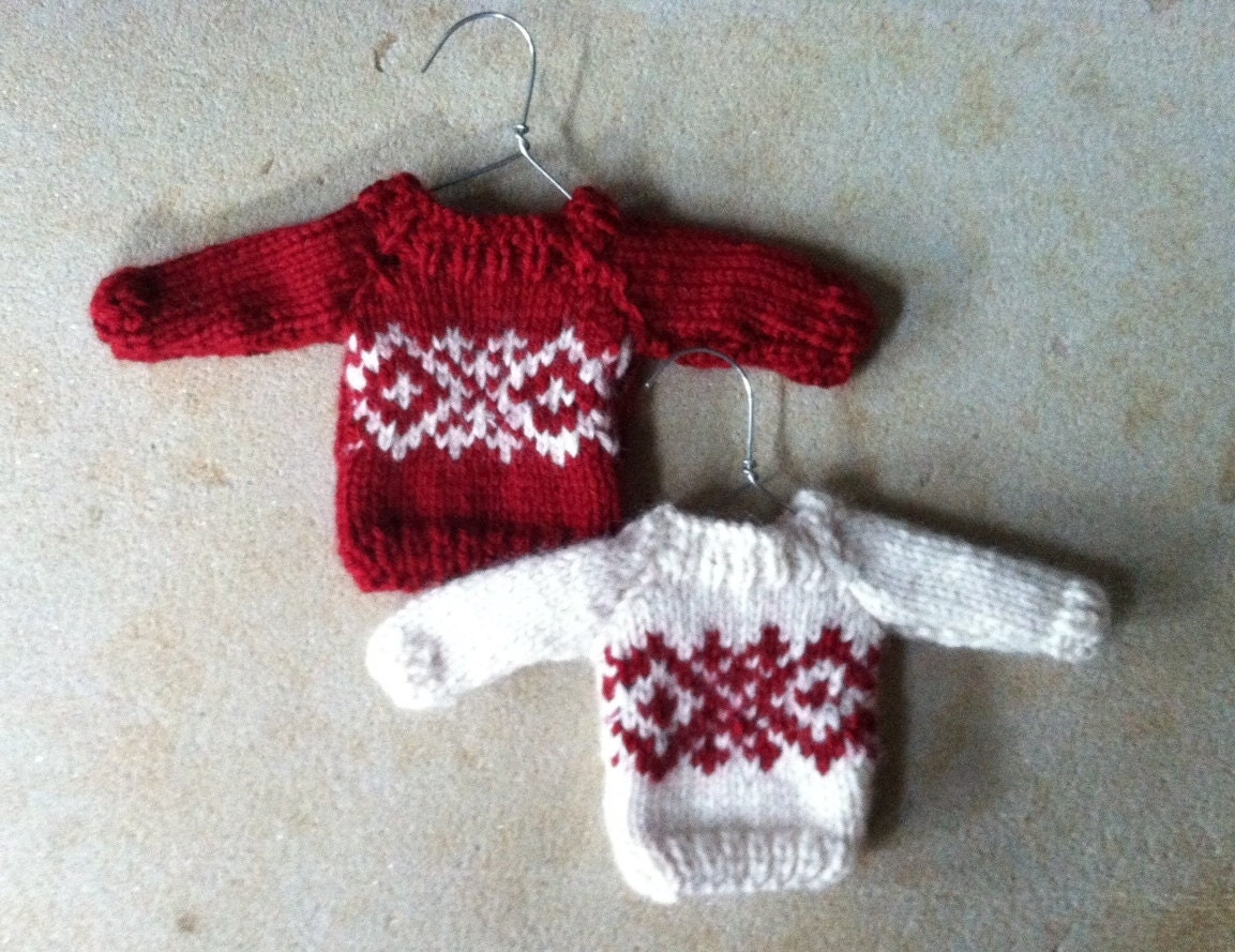 Knitted Christmas Decorations To Buy : Mini christmas sweater ornament hand knit by amazingknits