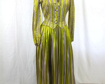1940s Chartreuse and Grey Stripe Sequined Evening Dress