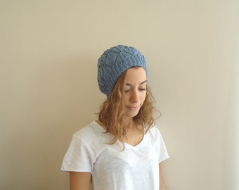 Hand Knitted BLUE Beanie HAT,women,teenage,fall winter, gift for her