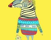 Zebra Dude. Limited edition art print by Illustrator Ashley Percival. Kids Print, Poster.