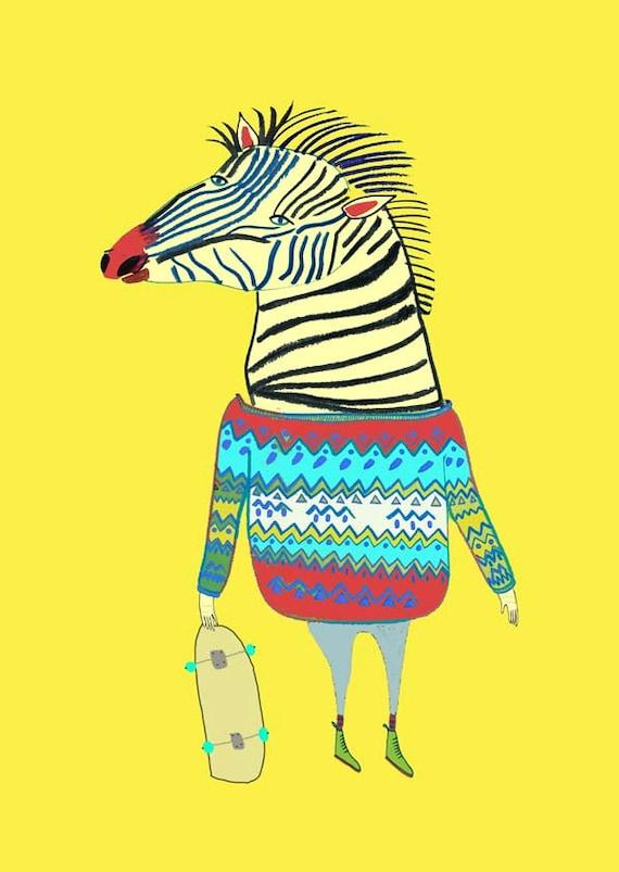 Zebra Dude. Kids wall art, nursery wall decor, children's art print, kids decor, wall art, home decor, teens decor, teens art, animal art.