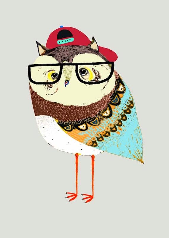 The Cool Owl. kids art, children's wall art, kids wall decor, art print, kids decor, illustration print, owl print, childrens room, drawing.