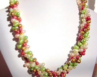 "Pearl Torsade Necklace - ""Shades of Fall"" Fresh Water Pearls, Multi-Strand, Twisted, Choker, Elegant, OOAK"