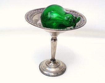 Vintage Sterling Silver   Sterling Compote   Footed Candy Dish   Sterling Card Holder - As Is