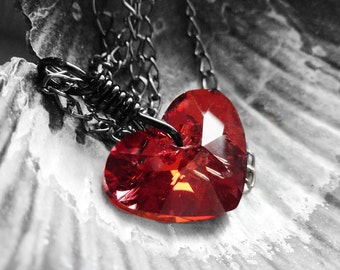 Get 15% OFF - Gift under 25 - Lovely Swarovski Red Magma Heart Crystal Wire Wrapped Pendant Gunmetal Necklace - Valentine's Day SALE 2016