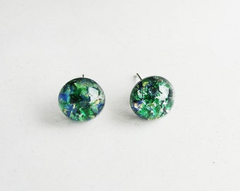 Get 15% OFF - 9mm Green Opal Glass Dome Cabochon Silver Plated Stud Earrings - 4th of July SALE 2017