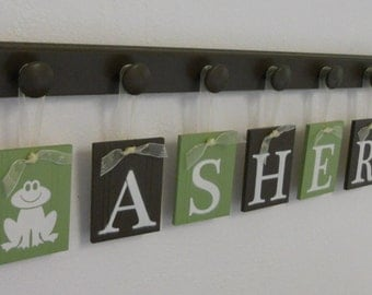 Froggy Nursery, Frog Art Wall Decor Personalized Ribbon Letter Decorations, Pegs and Tiles in Chocolate Brown and Light Green - Frog Gifts