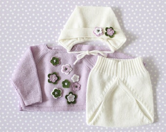 Preemie outfit, baby sweater, knitted diaper cover, bonnet, knitted baby set, lilac, off white, green, 100% Merino, preemie.