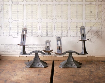 Pair of Vintage Cast Iron Shoe Display Stands - Art Deco Department Store Decor