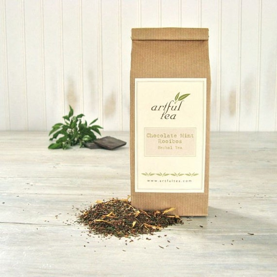Chocolate Mint Rooibos Tea, Loose Leaf Herbal Blend, Peppermint & Chocolate Treat, No-Calorie Dessert Tea