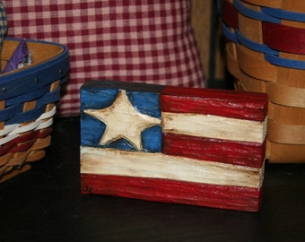 Hand Carved Wood Shelf Sitter - Hand Painted - Flag -Americana - OFG - FAAP