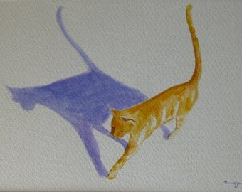 "Watercolor painting,""Yellow Cat"" - Original, 5x7 inches. Matted 8x10."